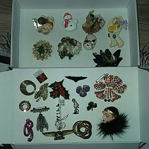Huge Lot of Vintage and Costume Jewelry Pins 25PCS